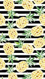 Bahia Collection by Dohler Pineapples and Stripes Brazilian Velour Beach Towel 40x72 Inches