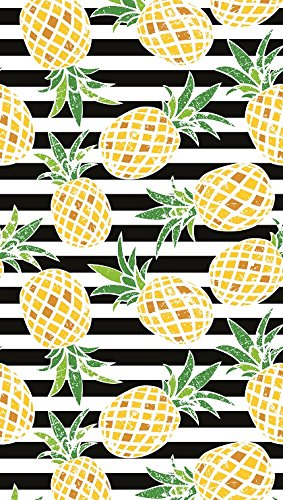 Bahia Collection by Dohler Pineapples and Stripes Brazilian Velour Beach Towel 40x72 Inches ()