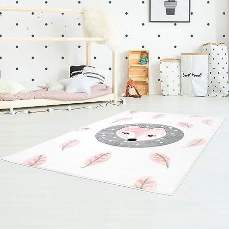 Myshop24h Kinderteppich Spielteppich Teppich Kinderzimmer Konturenschnitt Glanzgarn Mit Fuchs Und Blättern In Mint Creme Größe In Cm 120 X 170 Cm