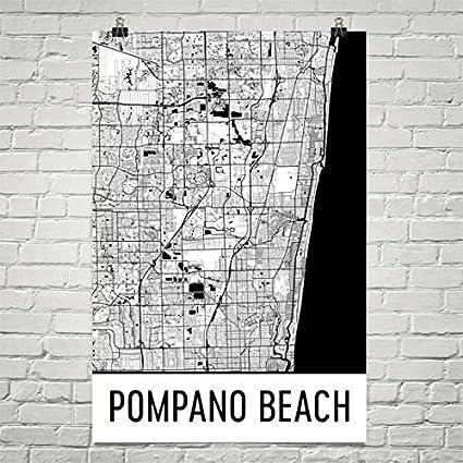 Pompano Beach Map Of Florida.Amazon Com Pompano Beach Map Pompano Beach Art Pompano Print