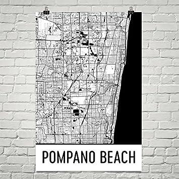 Map Of Pompano Beach Florida.Amazon Com Pompano Beach Map Pompano Beach Art Pompano Print