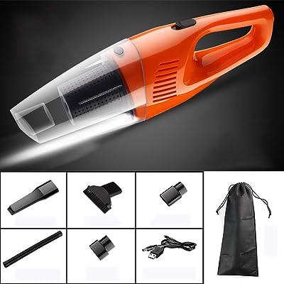 AA--car vacuum cleaner WXXCQ Aspirateur sans Fil, Aspirateurs à Main puissants, 3504 Pa, Aspirateurs à Main portatifs à Sec et Humide, Aspirateur à Charge Rapide au Lithium, Orange - avec lumière Cuisine & Maison