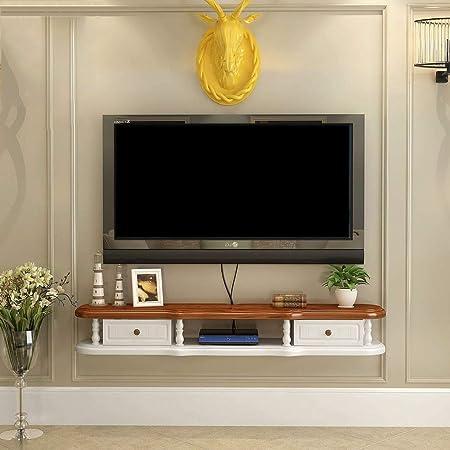 Estante flotante Soporte de TV montado en la pared Estante Estante Gabinete Medios Consola de entretenimiento Gaming Estantería con 2 cajones Muebles para el hogar (color: blanco + marrón, tamaño: 1: Amazon.es: Hogar
