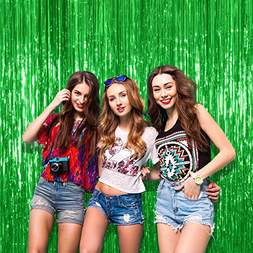 Pack of 4 Green Metallic Foil Fringe 3 x 8 Feet Curtains for Christmas New Year Selfie Wall Backdrop Graduation Birthday Decor -