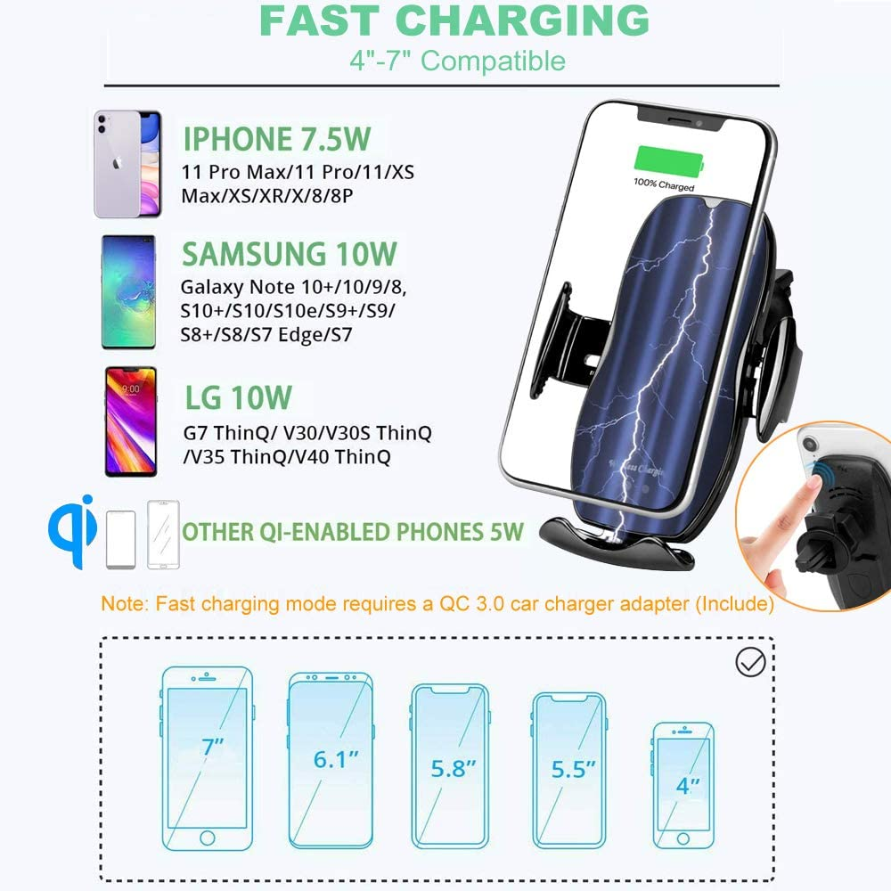 Gold GOOSUO Wireless Car Charger Mount Auto Clamping Qi Automatic Smart IR Sensor Fast Charging Car Phone Holder Vent Mount for iPhone X Xs Max Samsung S10 S9 Car Mount Wireless Charger