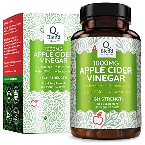 Apple Cider Vinegar Capsules 1000mg – 180 Vegan Capsules Made from UK Grown Apples – 90 Day Supply – Premium Quality…