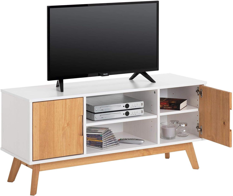 IDIMEX – Mueble TV Tivoli banco Télé de 114 cm AU estilo escandinavo diseño Vintage nórdico con 2 puertas y 2 estantes, madera de pino maciza barnizada color blanco y acabados cirée: Amazon.es: Hogar