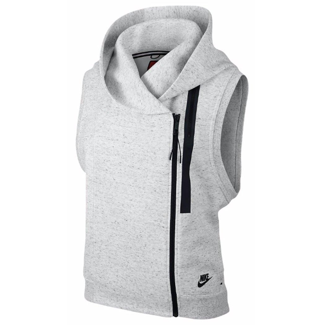 Nike Womens Tech Fleece Vest Hoodie (Large, Summit White/Heather/Black)
