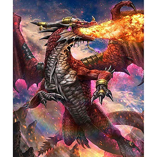5D Diamond Painting Full Diamond DIY Handmade Cross Stitch by Number Painted Lacquer Living Room Bedroom Children Hd Decorative Painting Children Painting Dragon 15X30 cm
