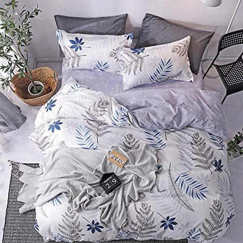 LAMEJOR Duvet Cover Set Queen Size Simple Leaf Pattern Reversible Bedding Set Comforter Cover (1 Duvet Cover+2 Pillowcases) Gray/White