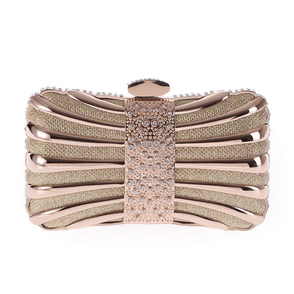 AGOPO Schultertasche Mode-Legierung Bohrer Bohrer Bohrer Abendtasche Handtasche Clutch Chain Bag (Farbe   Gold, Größe   Einheitsgröße) B07NZM32WN Clutches Reichhaltiges Design be6dba