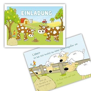 10 EINLADUNGSKARTEN U0026quot;BAUERNHOFu0026quot; Zum Kindergeburtstag Für Mädchen  Und Jungen / Einladungen Bauernhof