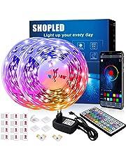LED Strips 12M, SHOPLED Bluetooth Music Sync SMD 5050 RGB Led Verlichting met App Bediening, 44 Toetsen Afstandsbediening voor Slaapkamer, Keuken, TV, Feest, Kamerdecoratie
