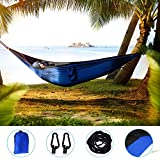 Jhua Double Camping Hammocks, Lightweight Parachute Portable Camping Hammocks Nylon Taffta Swing Bed for Outdoors Relax Travel Beach Yard (Blue)