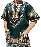 Raan Pah Muang RaanPahMuang Unisex African Bright Dashiki Cotton Shirt Variety Colors, Large, Green Brown