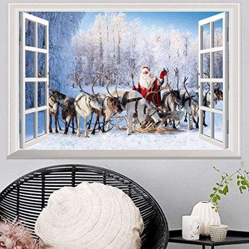 Highpot 3D Windows Wall Sticker for Christmas Santa Claus Mural Decals Vinyl Art Home Decors (B)