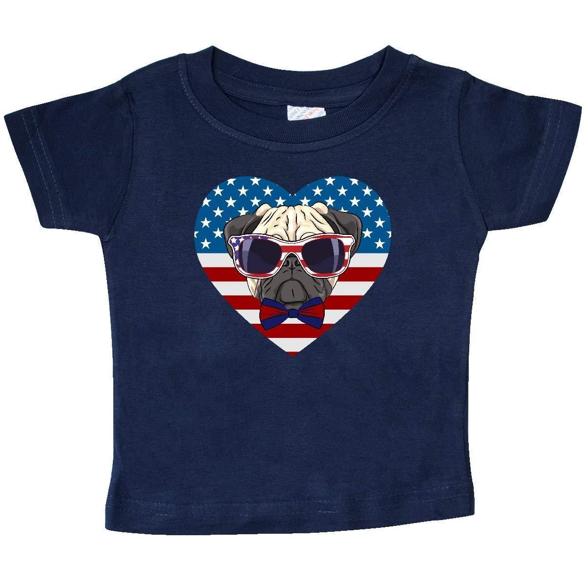 inktastic Pug Dog Patriotic US Flag Heart Baby T-Shirt