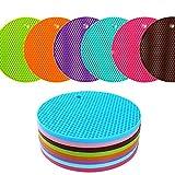 KISENG Silicone Pot Holder, Placemat(set of 6), Non-slip, Flexible, Durable, Dishwasher Safe, Heat Resistant Hot Pads(Pattern B)