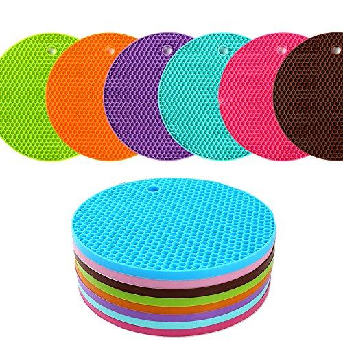 KISENG Silicone Pot Holder, Placemat(set of 6), Non-slip, Flexible, Durable, Dishwasher Safe, Heat Resistant Hot Pads(Pattern B) by KISENG