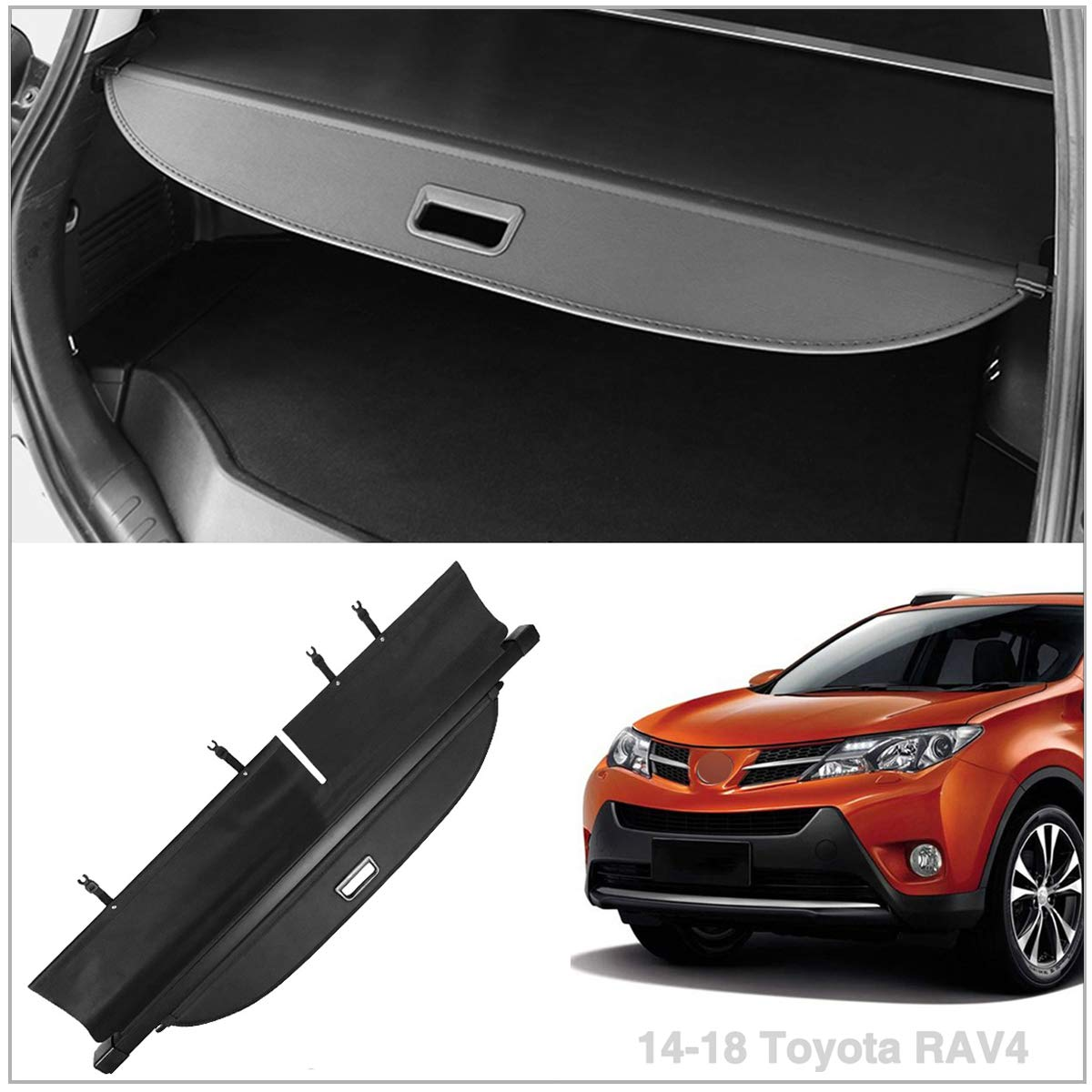 Autoxrun Black Cargo Cover fits 2014-2018 Toyota Rav4 Retractable Security Cover