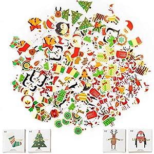 200 pezziAdesivi Natalizi Stickers Decorazione, etichetta regalo natalizio Etichette autoadesiva Babbo Natale pupazzo di neve albero di natale cervo festa di natale festival compleanno di natale 1 spesavip
