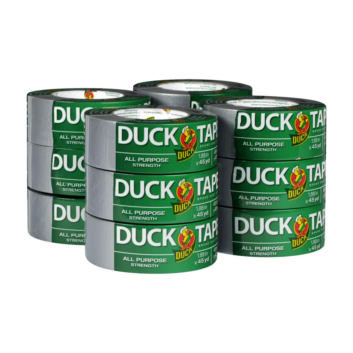 The Original Duck Tape Brand  284358 Duct Tape, 12-Pack 1.88 Inch x 45 Yard, 540 Total Yards Silver by Duck
