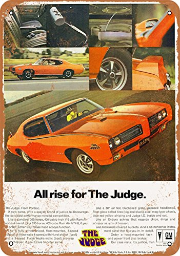 Wall-Color 7 x 10 Metal Sign - 1969 Pontiac GTO The Judge All Rise - Vintage Look