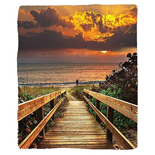 VROSELV Custom Blanket Beach for Fisherman Wooden Bridge Panoramic Sunset Ocean View Nature Art Picture Landscape Seascape Marine House Dorm Bedroom Living Room Brown Orange Green Bridge Armoire