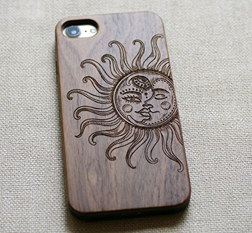 VIVIPOW Wood Vintage Sun and Moon Phone Case Compatible iPhone 7 Case(4.7 Inches),VIVIPOW Sun and Moon Phone Case Compatible iPhone 7 4.7 Inches 4 Unique Design:Pretty patten are carved in natural wood. Comfortable Design: nature wood and a high-quality plastic make for a comfortable and easy grip. Hybrid designed Case:3D TPU structure,Nature walnut wood at the back
