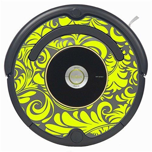 Flourish Vinyl Decal Skin for Roomba Vaccuum (900 Series, Yellow)