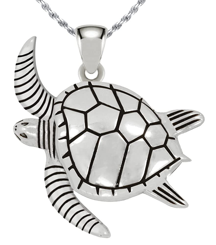 US Jewels And Gems New 0.925 Sterling Silver Sea Turtle Aquatic Pendant Animal Necklace