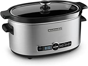 KitchenAid Refurbished 6-Quart Slow Cooker with Glass Lid | Stainless Steel