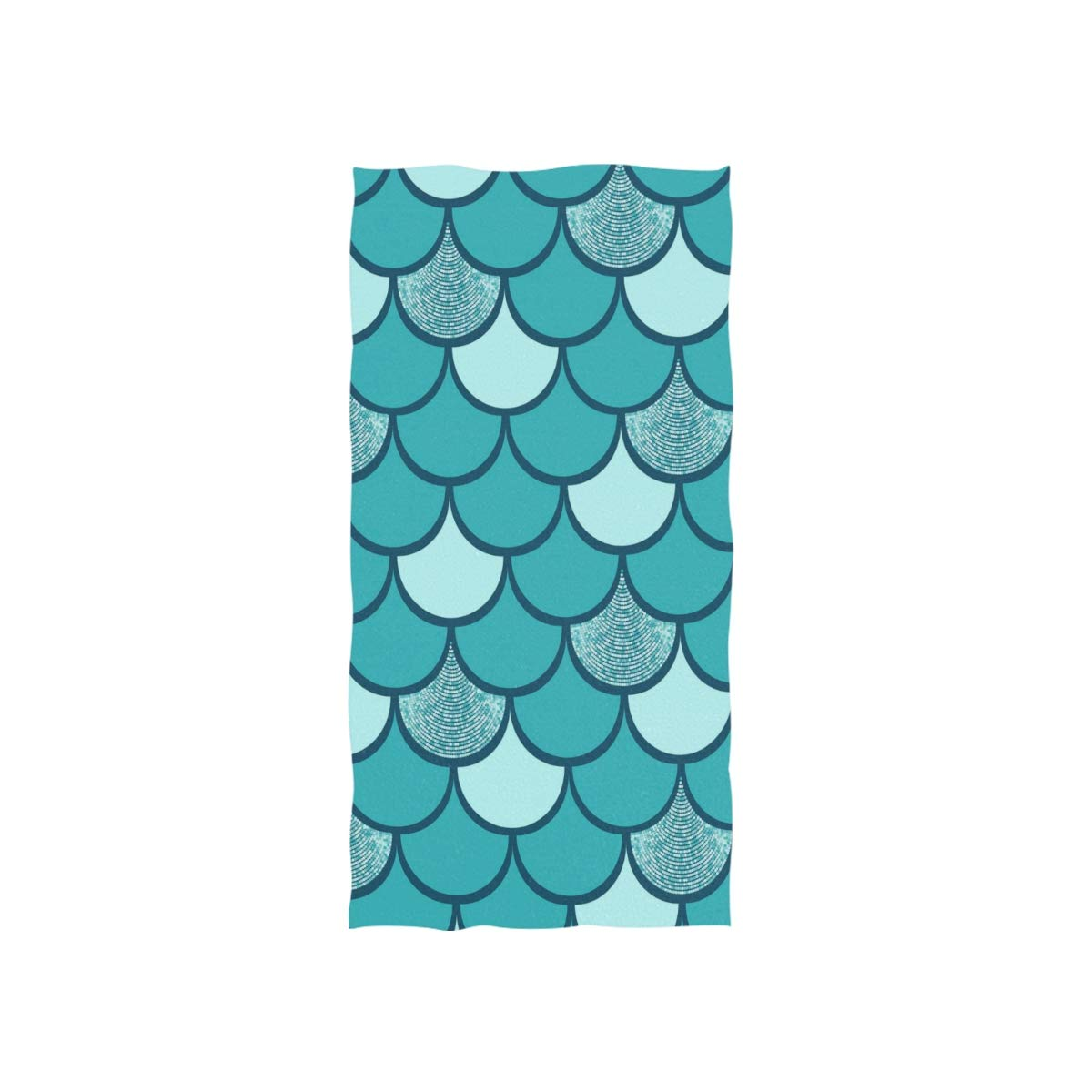 30 x 15 inch susiyo Turquoise Glitter Fish Mermaid Scale Hand Towels Luxury Print Bathroom Towel Highly Absorbent Extra Soft Fingertip Towels Multipurpose Towels for Yoga Gym Spa Hotel Bathroom