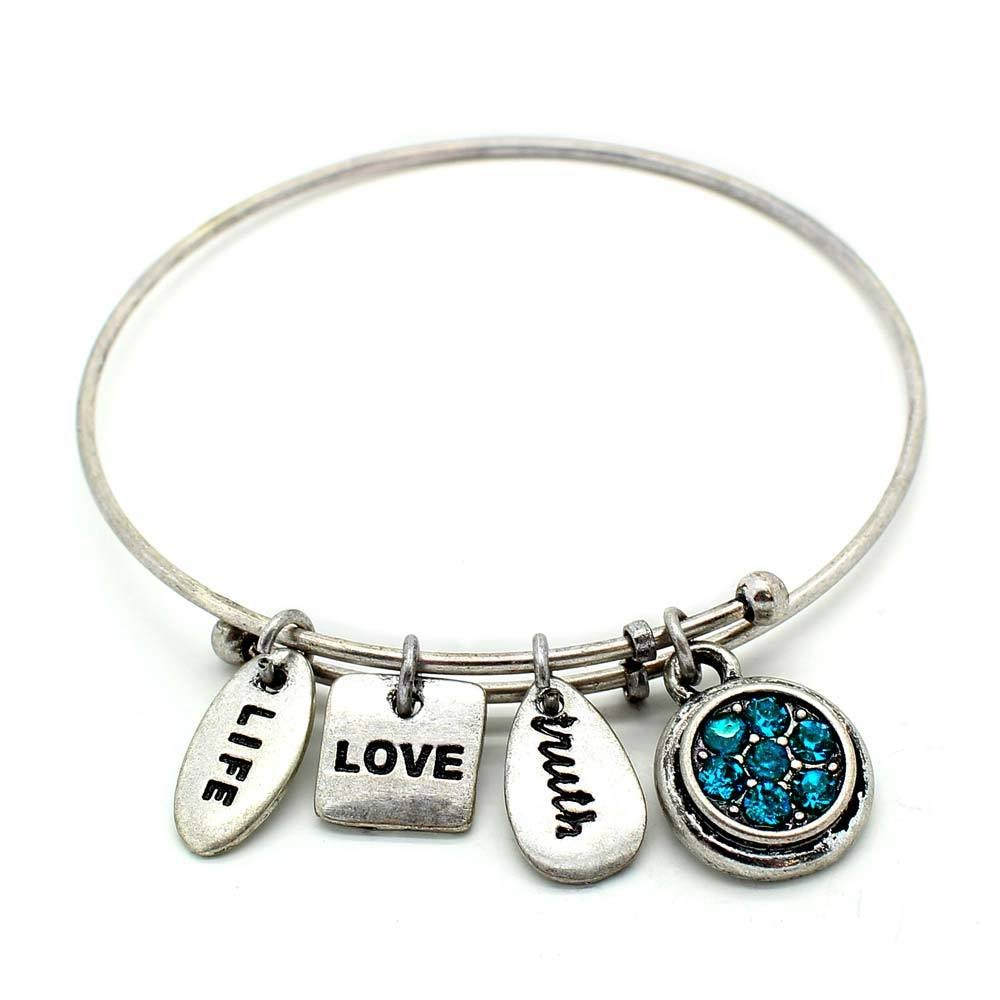 Symbology 'December' Birthstone Bangle Bracelet, Silver Expandable Wire Charm Bracelet With Sparkling Blue Zircon Crystals Perfect Jewelry For Fashion Ceswx 9013649-12SO