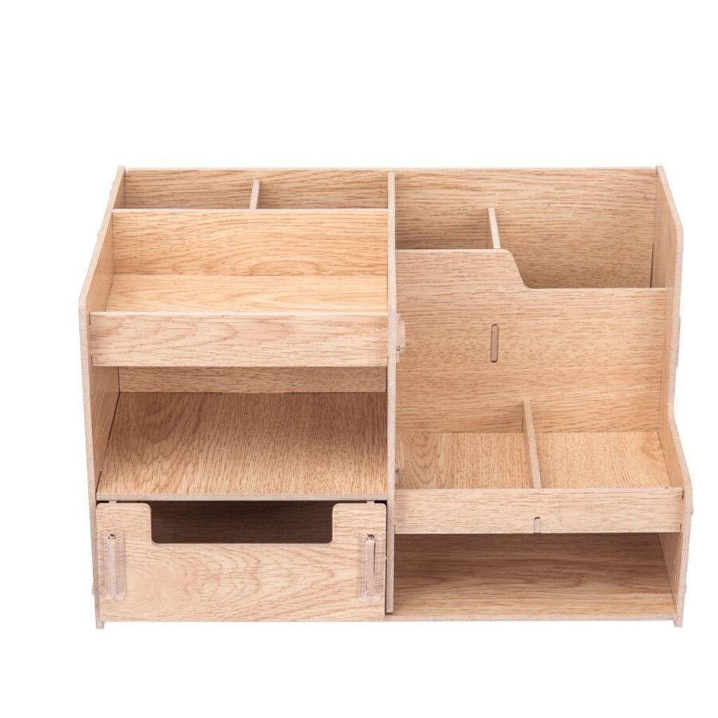 Storage Rack Office Classroom Desktop Data Book Holder, Wood Material, Multi-Layer Design with Drawer by MSJFUBANGBM