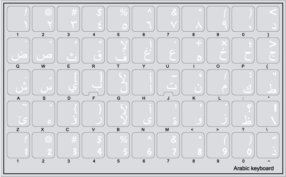 Arabic Keyboard Stickers with White Lettering ON Transparent Background
