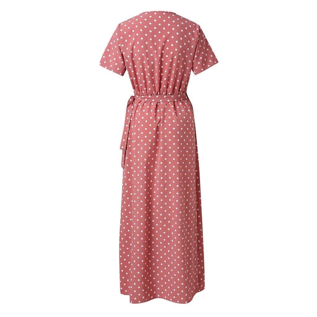 Vestido Verano Mujer 2019 Rosa con Cuello En V Atractivas con Punto En V Onda Largo con Abertura Y Abertura En El Cintur/óN
