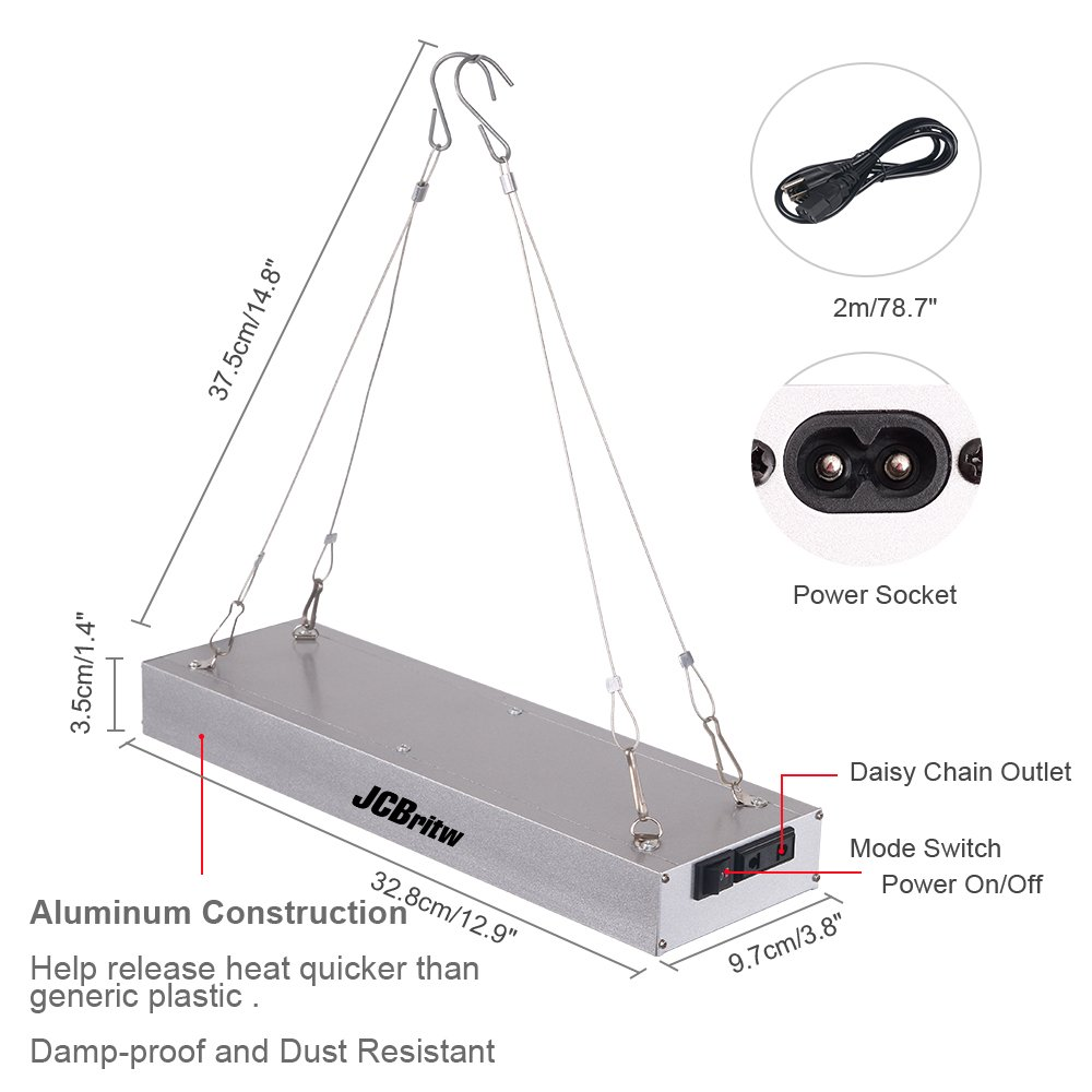 JCBritw LED Grow Light Panel Full Spectrum with Veg Bloom Dual Switch 30W Plus Plants Growing Lamps Aluminum Made with Daisy Chain for Indoor Plants Hydroponic Greenhouse Veg and Flower by JCBritw (Image #7)