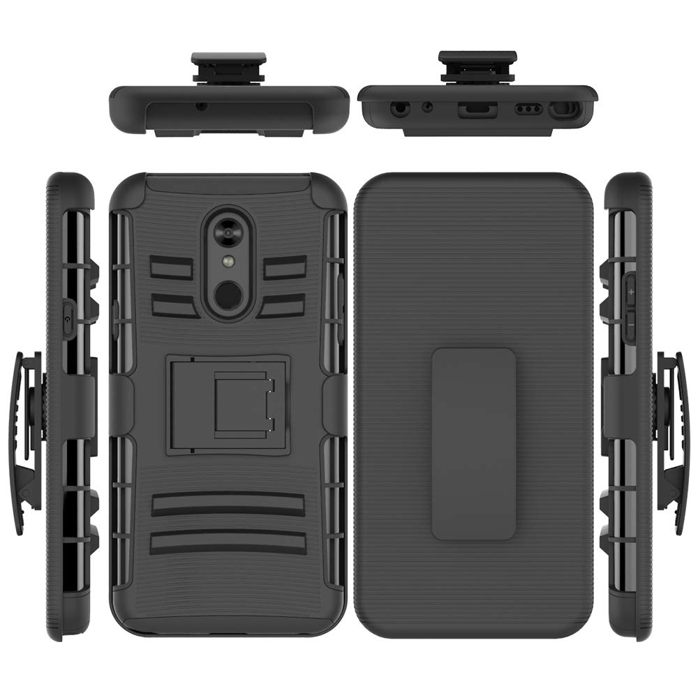 LG Stylo 5 Case, Folice Hybrid Full-Body Protective Case Cover with Kickstand & Belt Clip Holster Combo for LG Stylo 5 2019 Release (Black)