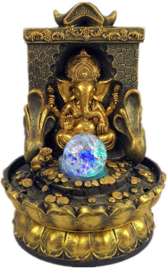 EFK-II Supply Elephant God Ganesha Lucky Water Fountain Ornaments Feng Shui Craft Indoor Desktop Fountain
