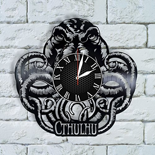 BombStudio Cthulhu Vinyl Record Wall Clock, Cthulhu Handmade for Kitchen, Office, Bedroom. Cthulhu Ideal Wall - Little Cthulhu Vinyl