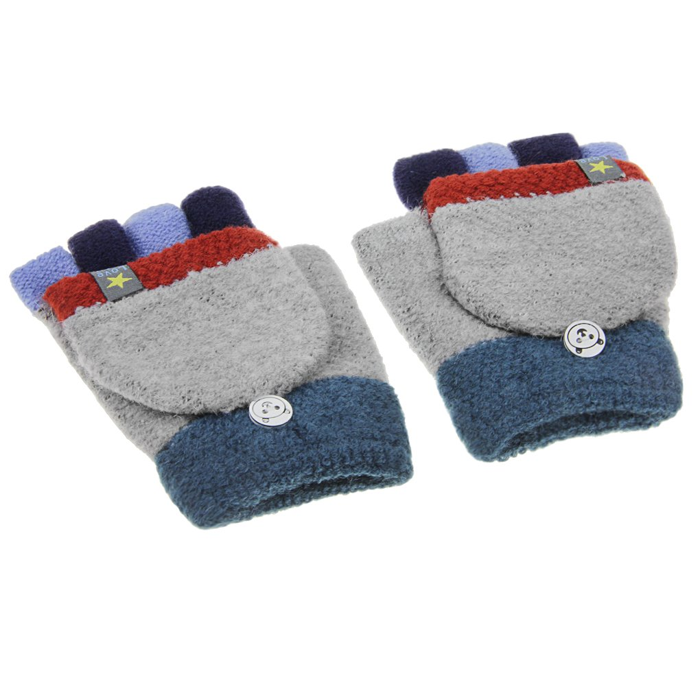 Fakeface Kids Fashion Winter Warm Short 2 in 1 Knitted Half Finger Gloves for 3-8Yrs