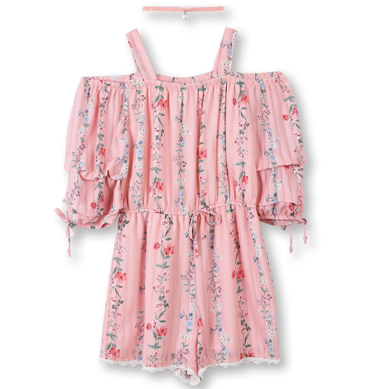 Speechless Big Girls' Off The Shoulder Romper With Tiered Sleeves