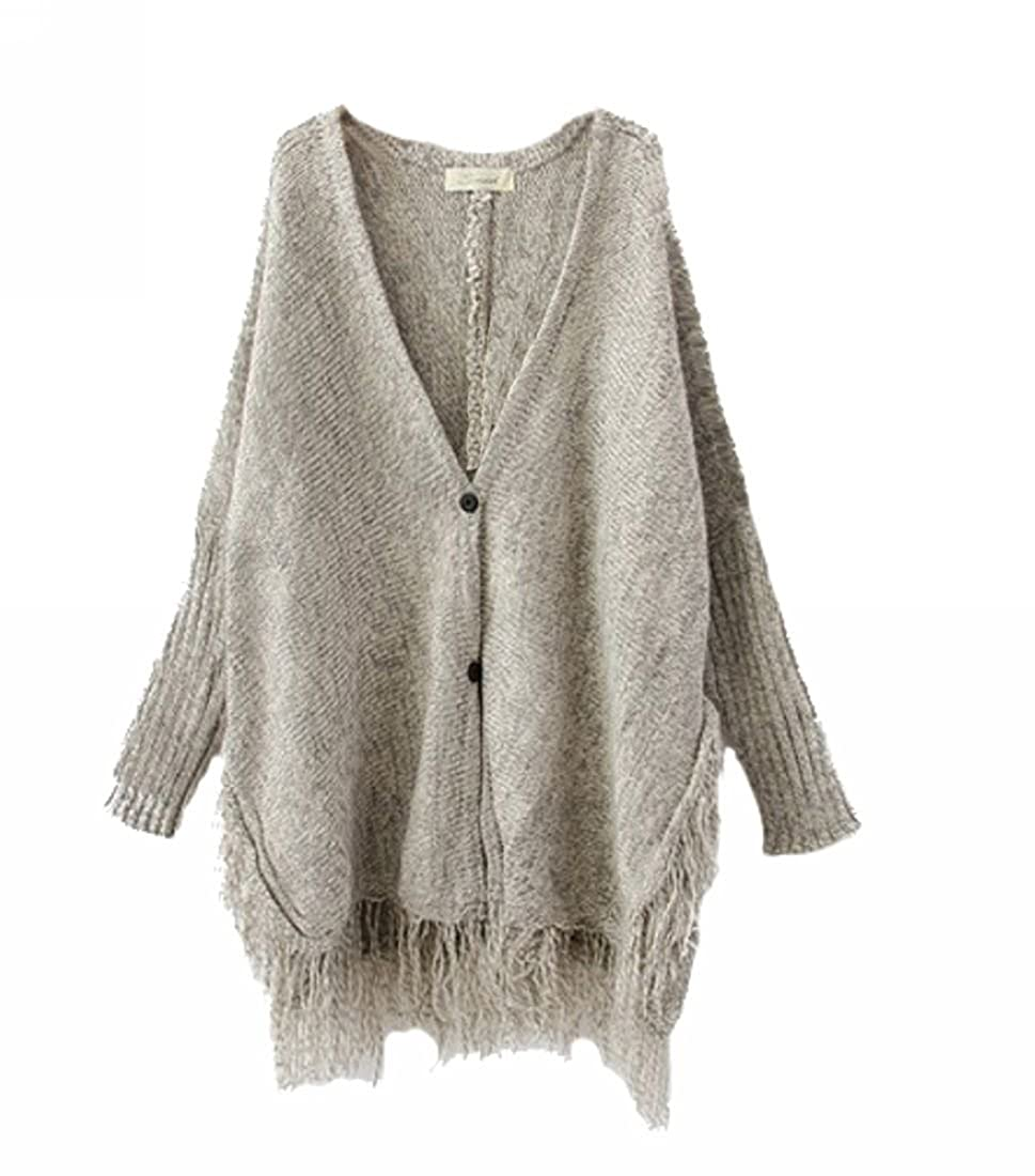 ELLAZHU Women Button Knit Fringed Tassels Batwing Cardigan Sweater ...