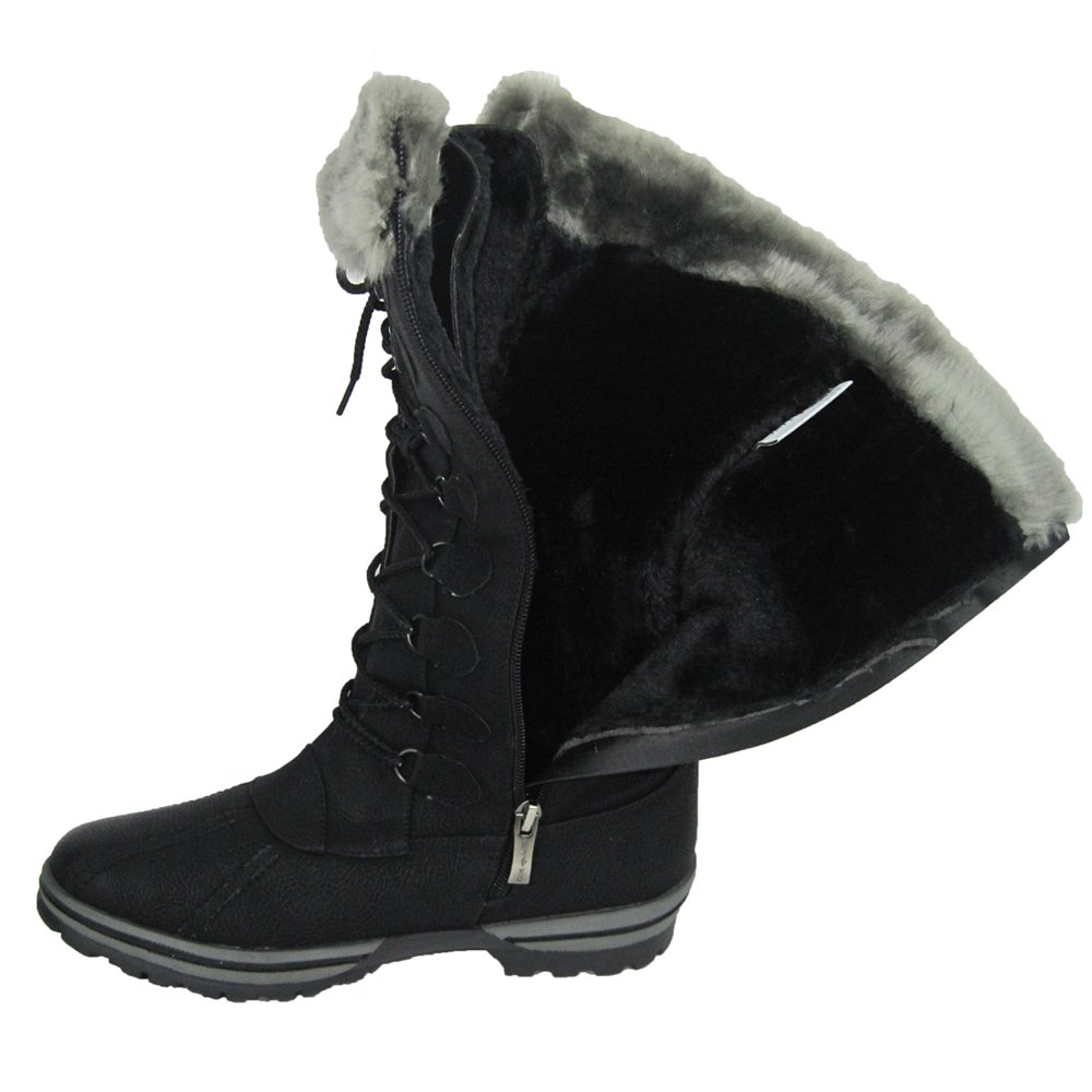 Comfy Moda Womens Winter Ice Snow Boots Cold Weather Faux Fur Full Lined Water Resistant Blue Mountain