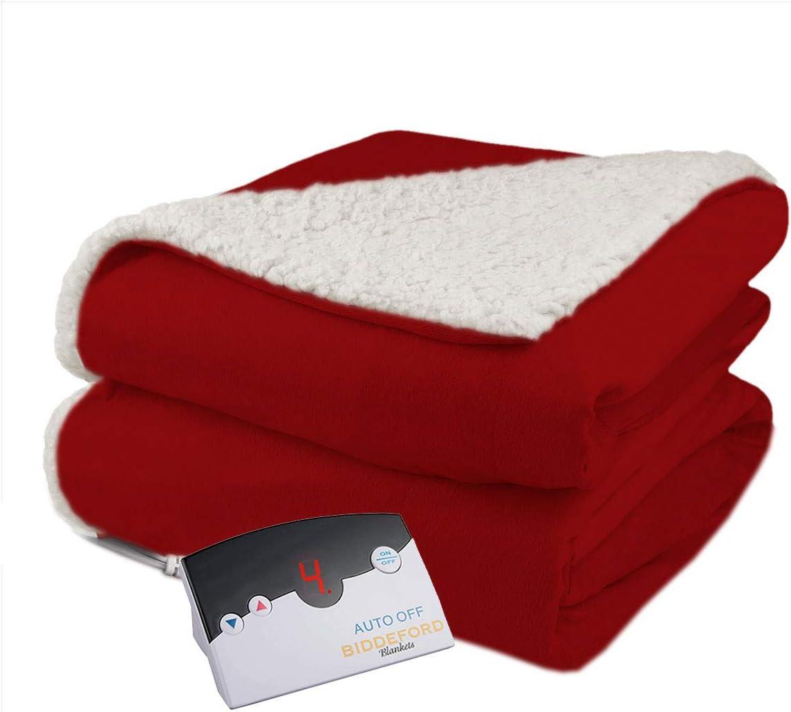 Biddeford Velour Sherpa Electric Heated Warming Blanket Twin Claret Red Washable Auto Shut Off 10 Heat Settings