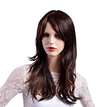 Amazon Com A Monamour Fashion Lady S Long Side Bangs Brown Gold