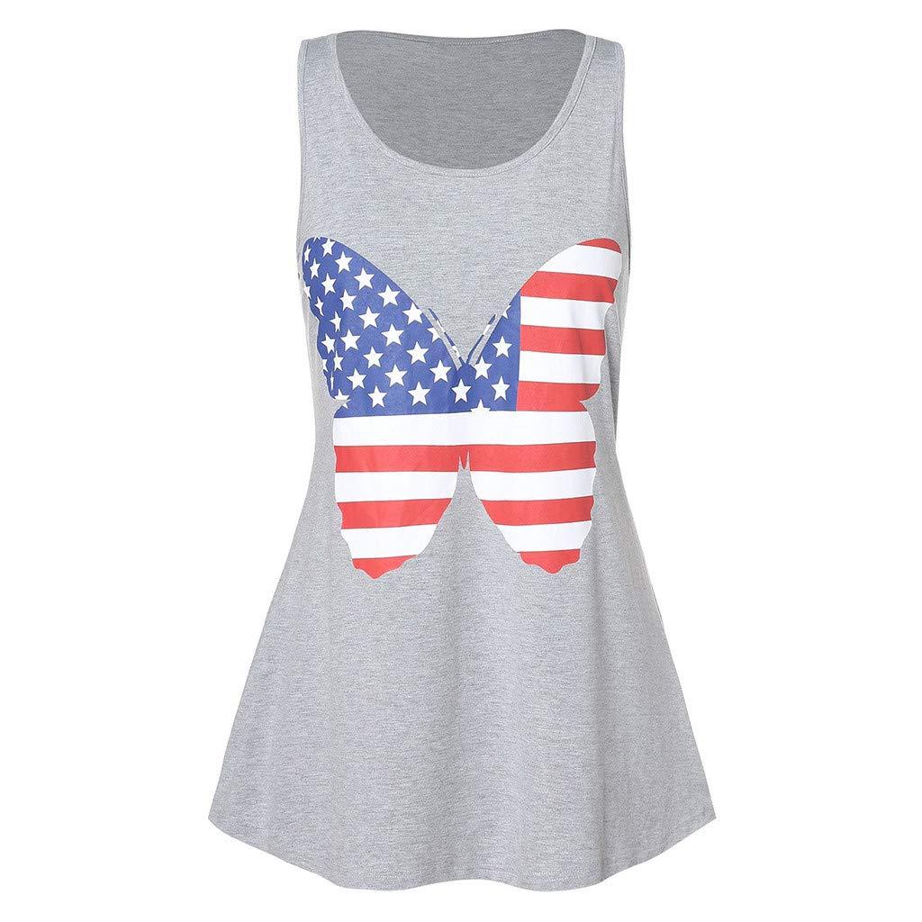 Womens Flag Top Tanks 4th July Flag Stripe Printed Patriotic Flag Shirts Blouse