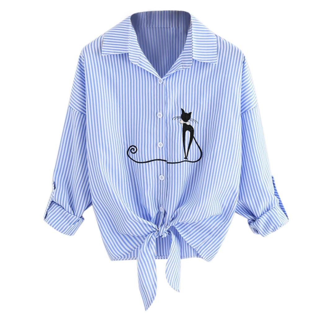 VIASA Women Fashion Sexy Embroidered Cat Knotted Hem Shirt Casual Long Sleeve Blouse Button Tops