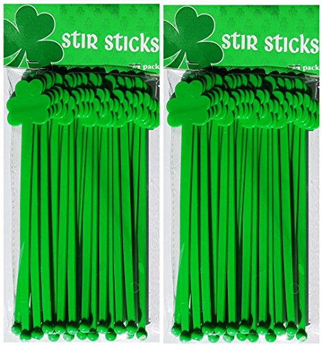St. Patrick's Day Artificial Shamrock Top Shaped Green Swizzle-Stir Sticks for Cocktail Drinks, Hot and Cold Beverages for Home, Parties, Break Rooms and Barware - 24 Figure up (2 Pack)